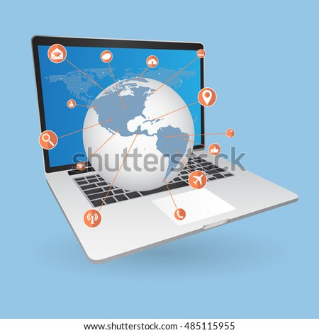 World Map Globe cloud computing concept with Web icons, Business icons and Technology icons for technology and business concept on tablet computer, Vector Illustration EPS 10.
