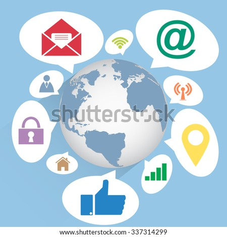World Map Globe community with Web icons, Business icons and Technology icons for technology and business concept, Vector Illustration EPS 10. - stock vector