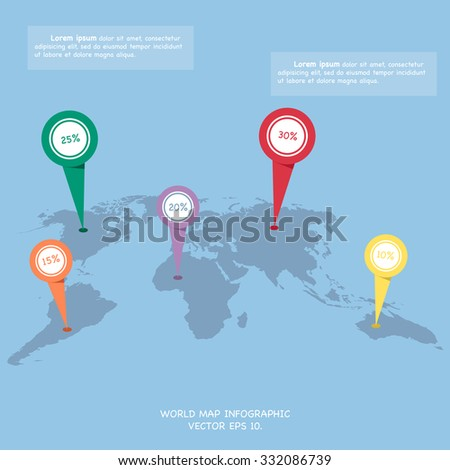 World map globe info graphic for communication concept, Vector Illustration EPS 10. - stock vector