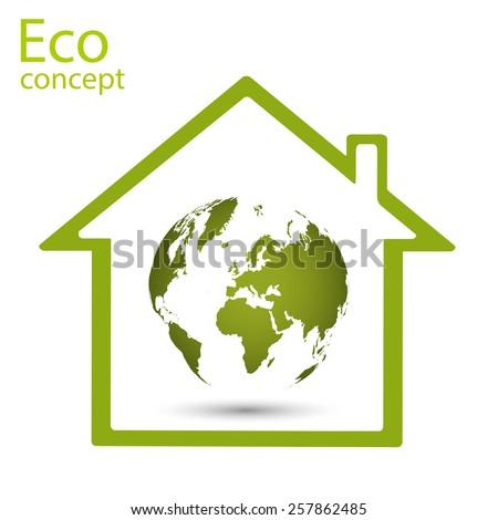 World map, globe inside a green house concept, vector illustration - stock vector