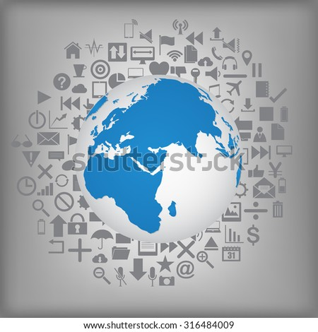 World Map Globe on Web icons, Business icons and Technology icons for technology and business concept, Vector Illustration EPS 10. - stock vector