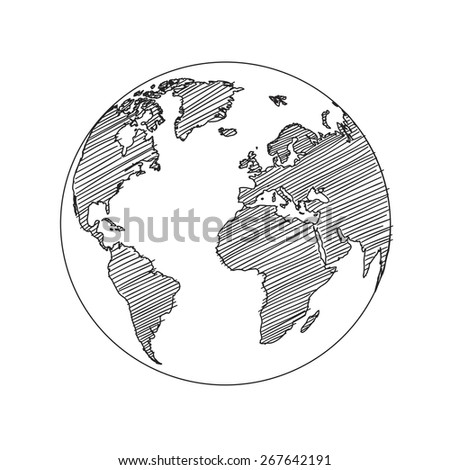 World map globe sketch in vector format - stock vector