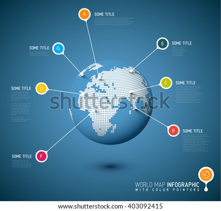 World map globe with pointer marks - communication concept - stock vector