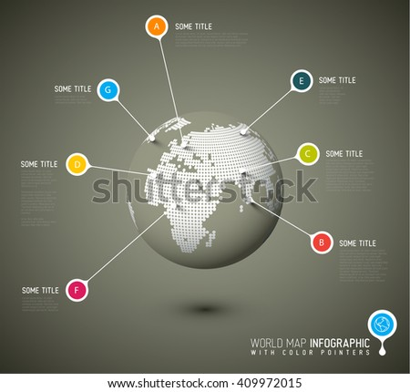 World map globe with pointer marks - communication concept - brown version - stock vector