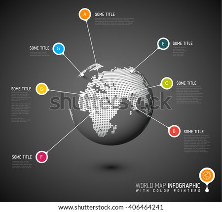 World map globe with pointer marks - communication concept - dark version - stock vector