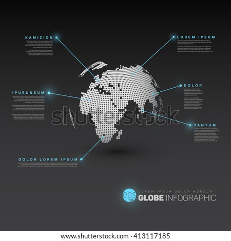 World map globe with pointer marks - dark version, with light blue effect pointers. - stock vector
