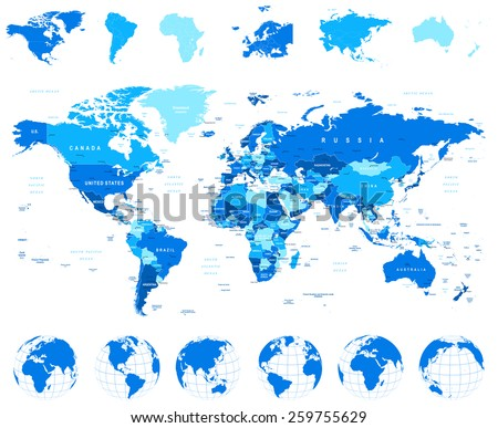 World Map, Globes, Continents - illustration Highly detailed vector illustration of world map, globes and continents - stock vector