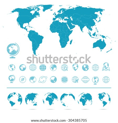 World Map, Globes Icons and Symbols - Illustration - stock vector