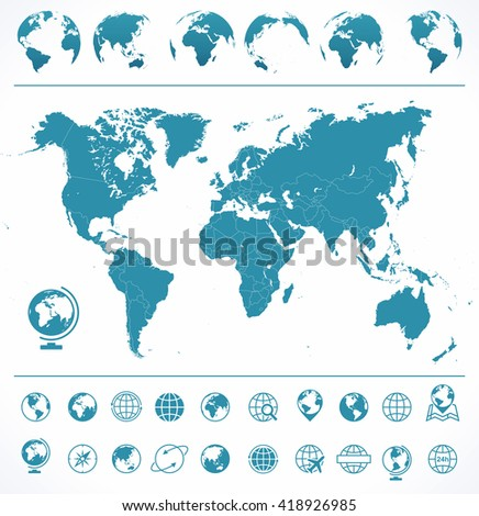 World Map, Globes, Icons and Symbols - Illustration Vector set of world map and globes. - stock vector