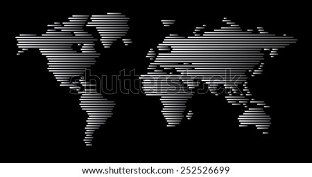 world map, gray gradient horizontal lines pattern EPS 10