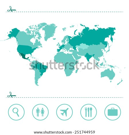World map green isolated vector - stock vector