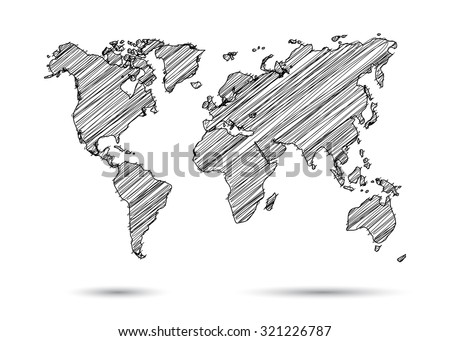 World map hand draw vectores en stock 321226787 shutterstock world map hand draw gumiabroncs Image collections