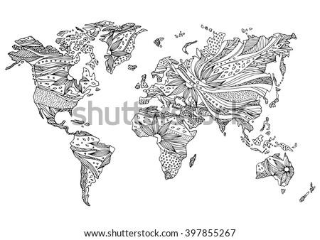 World map hand drawn flower floral vector de stock397855267 world map hand drawn flower floral design vector gumiabroncs Images