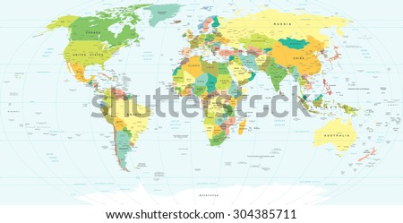 World Map - highly detailed vector illustration  - stock vector
