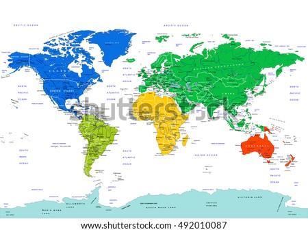World map highly detailed vector illustration stock vector world map highly detailed vector illustration continents in different colors countries cities gumiabroncs Gallery