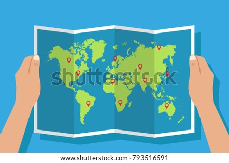 World map holding hands flat design stock vector 2018 793516591 world map holding in hands flat design vector gumiabroncs Image collections
