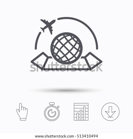 World map icon globe airplane sign stock vector royalty free world map icon globe with airplane sign plane travel symbol stopwatch timer publicscrutiny Image collections
