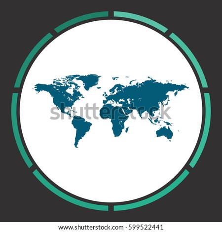 World map icon vector flat simple stock vector 599522441 shutterstock world map icon vector flat simple blue pictogram in a circle illustration symbol gumiabroncs Images