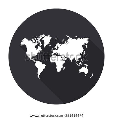 World map icon long shadow vector stock vector 251616694 world map icon with long shadow vector round button gumiabroncs Images