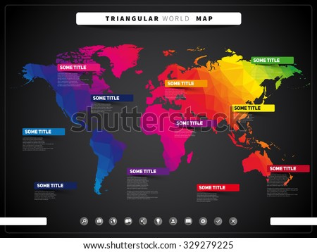 World map illustration and infographics, triangular vector design template, dark style - stock vector