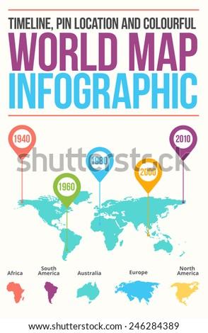 World map illustration infographics geometric concept design vector template. - stock vector
