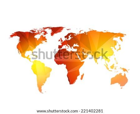 World Map Illustration triangle,  easy editable - stock vector