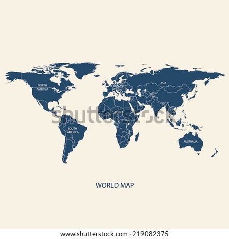 WORLD MAP ILLUSTRATION VECTOR WITH BORDERS  - stock vector