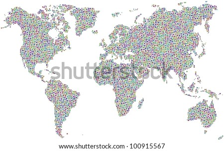 World map in a mosaic of harlequin squares. A number of 7820 little squares are accurately inserted into the mosaic. White background.