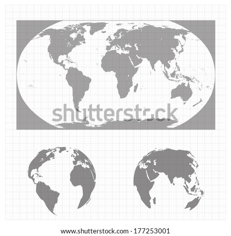 world map in a vector - stock vector