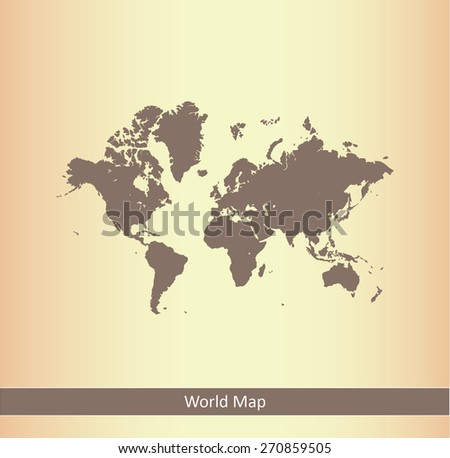 World map in an abstract background, an old paper background of world map with a strip or ribbon for webpage template or construction - stock vector