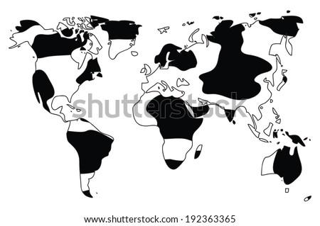 World map in animal print design, black and white, vector illustration - stock vector