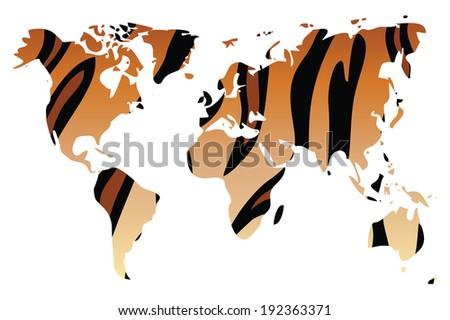 World map in animal print design, tiger pattern, vector illustration - stock vector