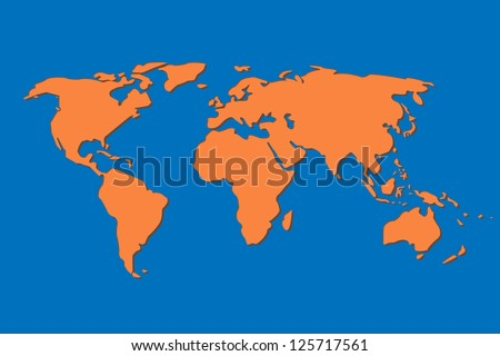 world map in blue background vector - stock vector