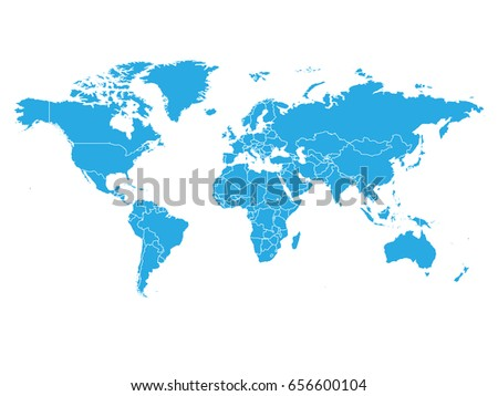 World map blue color on white stock vector 656600104 shutterstock world map in blue color on white background high detail blank political map vector gumiabroncs Choice Image