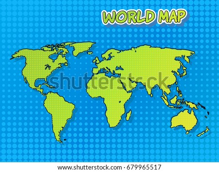 World map comic book pop art stock vector 679965517 shutterstock world map in comic book and pop art style with halftone technique vector art gumiabroncs Image collections