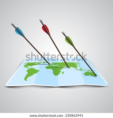 World map in 3D with arrows, vector - stock vector