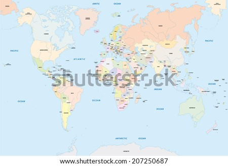 World map english language stock photo photo vector illustration world map in english language gumiabroncs Choice Image