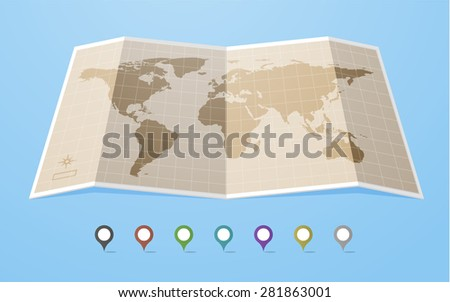 World map in flat style with map colored map pointers.