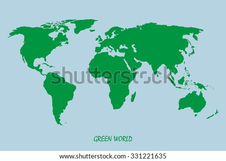 World map in green  on a blue background - stock vector