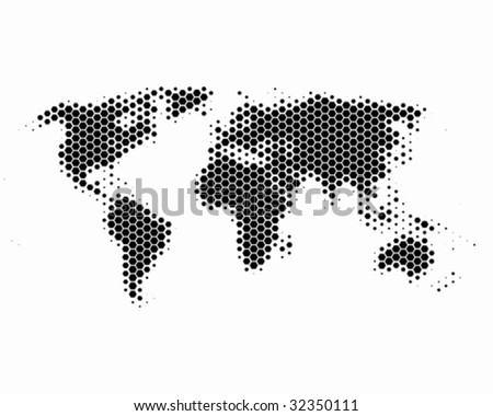 World map in hexagons