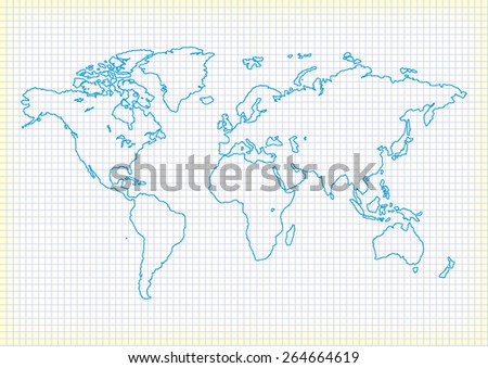 world map in old notebook vector