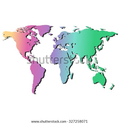 world map in rainbow colors