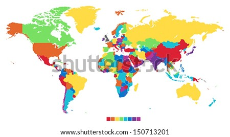 World map in rainbow colors. Vector illustration. - stock vector