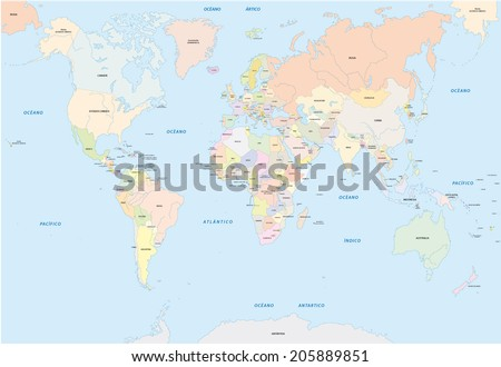 World map spanish language vectores en stock 205889851 shutterstock world map in spanish language gumiabroncs Image collections