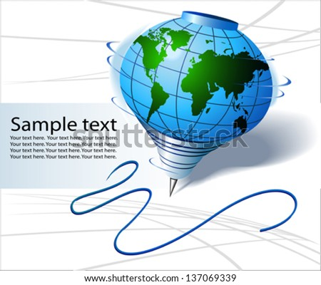 World map in spinning top shape - stock vector