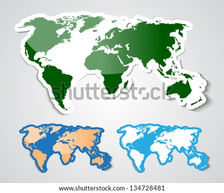 World map in sticker style. Vector illustration