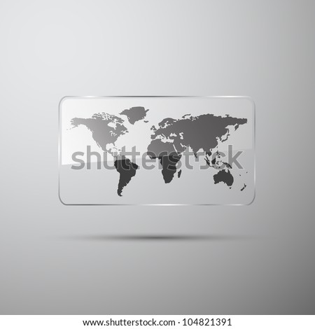 World map in the glass on gray - stock vector