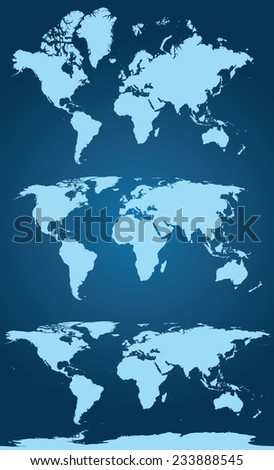 World map in three versions. Qualitative vector (EPS-10) graphics for geography, mapping, tourism, navigation, cartography, etc. - stock vector