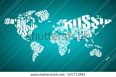 World Map in Typography  - stock vector