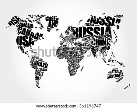World map typography word cloud concept stock photo photo vector world map typography word cloud concept stock photo photo vector illustration 361196747 shutterstock gumiabroncs Choice Image